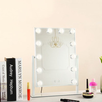 New LED 12 Bulb Mirror Portable Princess Mirror Beauty Mirror Vanity Light 3 Color Makeup Mirror Adjustable Touch Screen