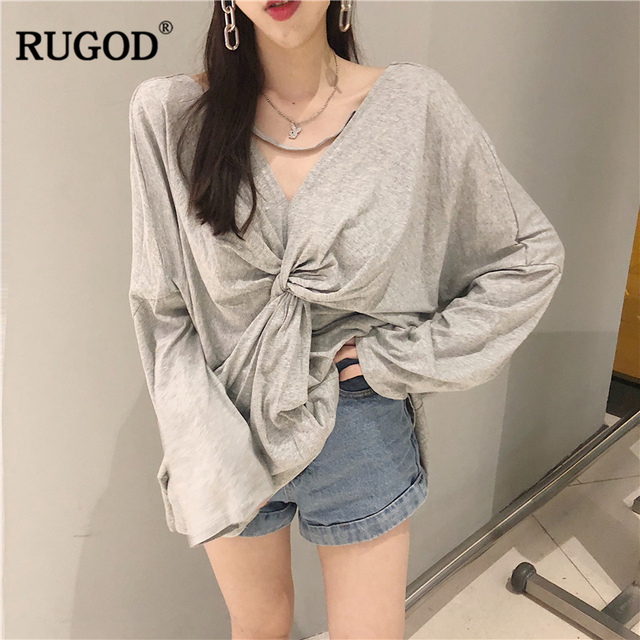 RUGOD Fashion Long Sleeve Tee Shirt Summer Loose V-neck Wear Both Side Fold T  Shirts 2018 New Casual Cotton Women Backless Top 020f3171d