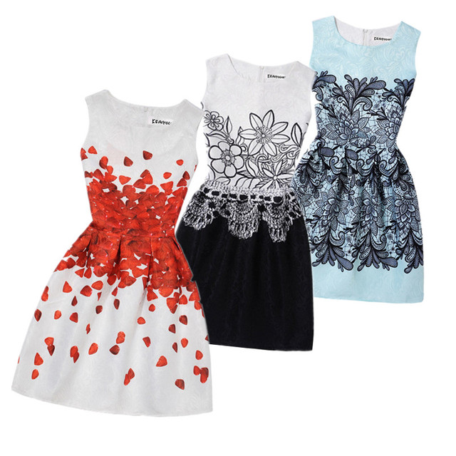 8d21c0ae956 2019 Summer Girls Dress Butterfly Floral Print Princess Dresses for 6 8 9  10 11 12 13 15 17 20 Year Teenagers Girls Party Dresse