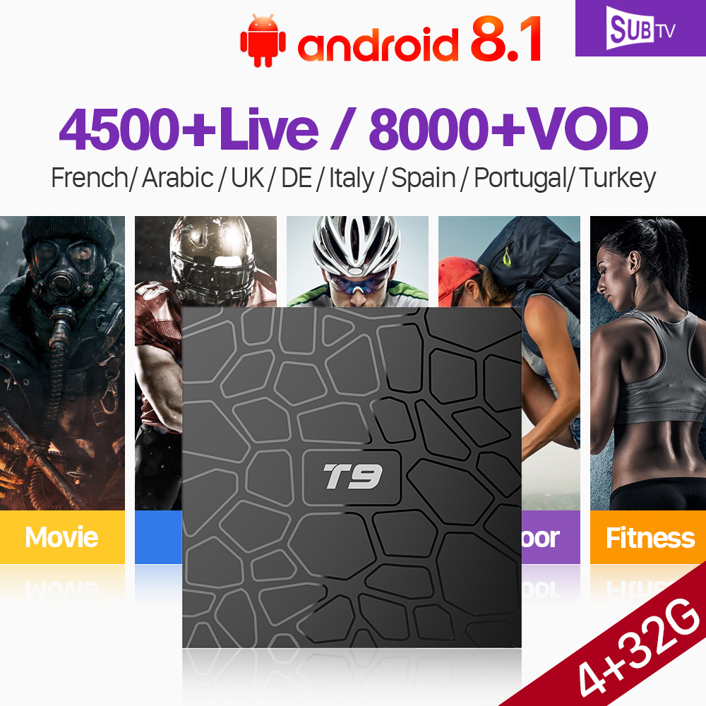 T9 Android 8.1 Full HD IP TV France Box with 1 Year SUBTV Code IPTV Subscription 2.4G Wifi 4G 32G RK3328 IPTV French Belgium