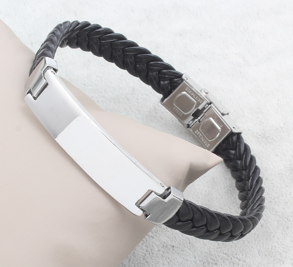 Black Silicone Bracelet Men...