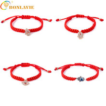 2017 New Turkey Evil Eye Hamsa Hand Charms Bracelet Red String Rope Braided Bangles Bracelets For Women Men Adjustable Length(China)