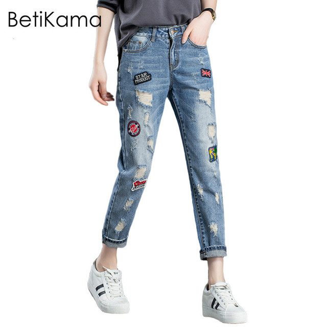 33c35bd7b23 Boyfriend Jeans for Women Casual Embroidered Patches Pattern Pants pantalon  femme Plus Size Denim Jeans England Style Trousers