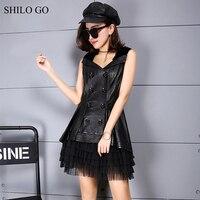 SHILO GO Leather Dress Womens Spring Fashion Sheepskin Genuine Leather Dress Laple Double Breasted Sleeveless Ball