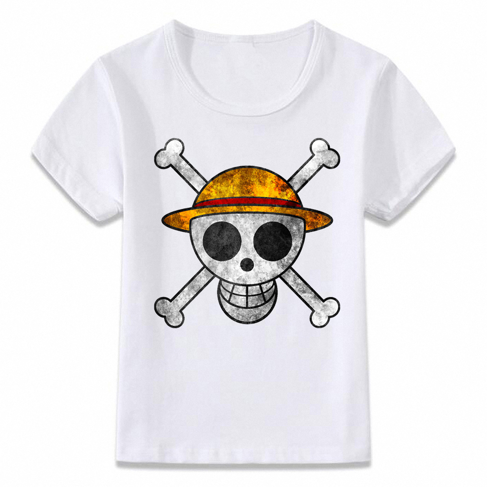 Kids Clothes T Shirt One Piece Luffy Pirate Flag Children T-shirt For Boys And Girls Toddler Shirts Oal329