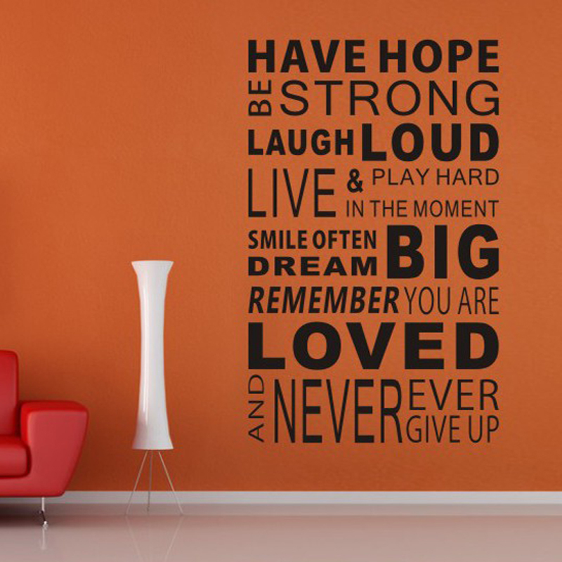 aliexpresscom buy free shipping have hope sticker family rules home decor quotes office decoration mural wall quote 100cm60cm from reliable home decor - Home Decor Quotes