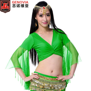 Women Sexy Belly Dance Top Costume Chiffon Blouse Ladies Choli Flare Top Blouse Dance Clothes 9 Colours image