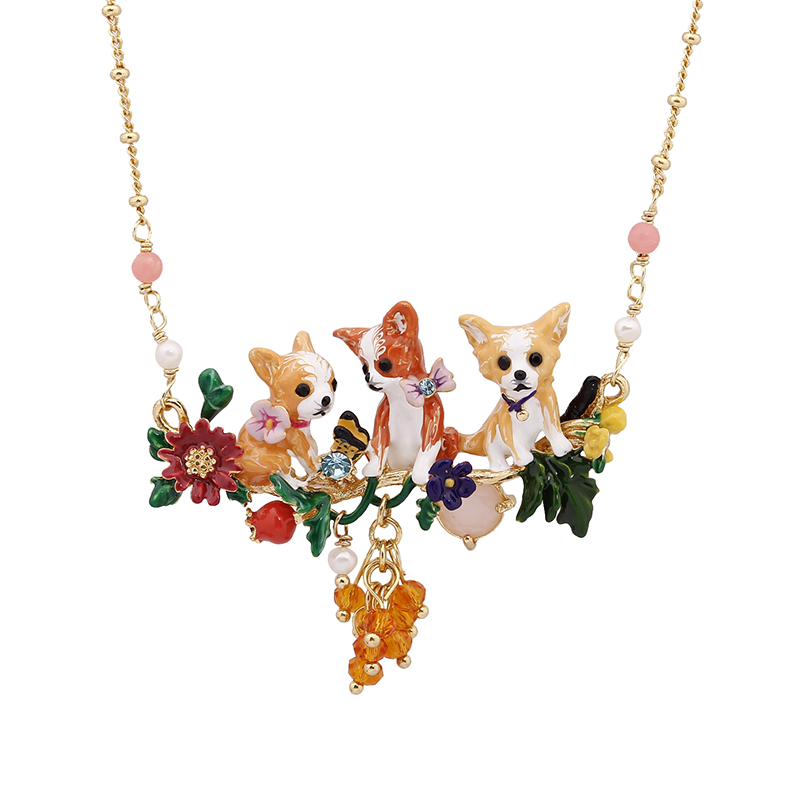 Sweet Lovely Cute Animal Dogs With Different Pose Necklace Choker 2017 New Fashion Jewelry For Women Color Rich And Royal Style original refurbished fuser assembly fuser unit for dell 2150cn 2150cdn 2155cn 2155cdn 332 0860 110v pls tell the voltage