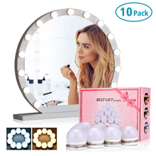 купить 10 LED Light Bulbs Lamp Kit Vanity Makeup Mirror 3 Colors Brightness Adjustable Lighted Bathroom Mirror Make Up Cosmetic Mirrors дешево
