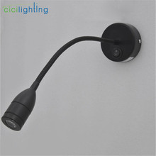 1W 3w led flexible hose wall light bedside reading lamp painting mirror lights 110V / 220V switch black aluminum led lamp abajur