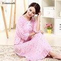 2016 New Cotton Nightgown Summer Half Sleepwear O-neck  Long Nightdress Women lounge One-piece Sleepshirts