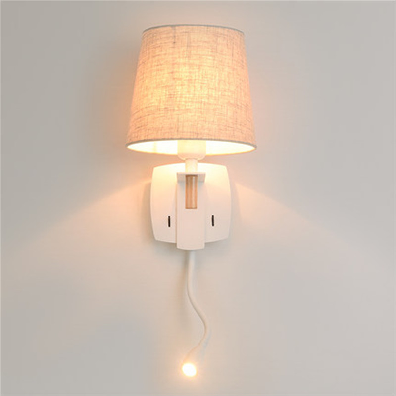 Simple Fabric Tall Wall Light: Simple Modern LED Wall Lamp Switch Adjustable Wall Light