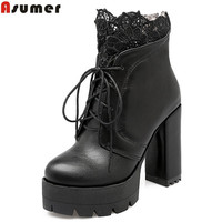 ASUMER 2018 hot sale autumn winter new arrive women boots fashion lace up platform black white ankle boots super heels boots