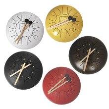 12 дюймов стальной язык ручная сковорода барабан буддийский костюм для медитации ударный инструмент беззаботный звук металлический подвесной барабан с барабанными палочками сумка