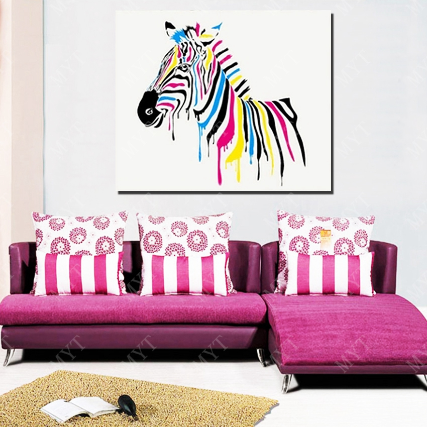 White background multi color zebra oil paintings large wall pictures ...