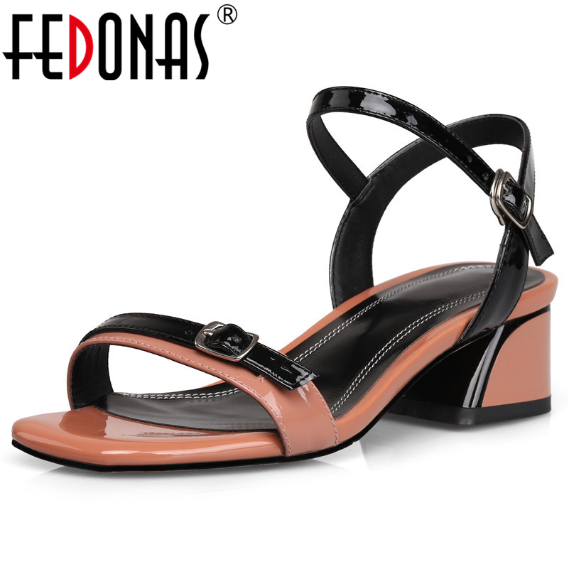 FEDONAS High Quality Square High Heels For Women 2019 New Arrival Buckle Decoration Summer Sandals Party Dress Basic Shoes WomanFEDONAS High Quality Square High Heels For Women 2019 New Arrival Buckle Decoration Summer Sandals Party Dress Basic Shoes Woman