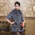 2016 Spring Autumn Women's Genuine Real Sheared Rabbit Fur Coat Fox Fur Collar Half Sleee Female Medium-long Outerwear VF0008