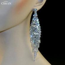 683b1c8f514c Chran rhodium chispas cristal mujeres piercing joyería al por mayor nupcial  cuelgan Pendientes precioso rhinestone borla larga P..
