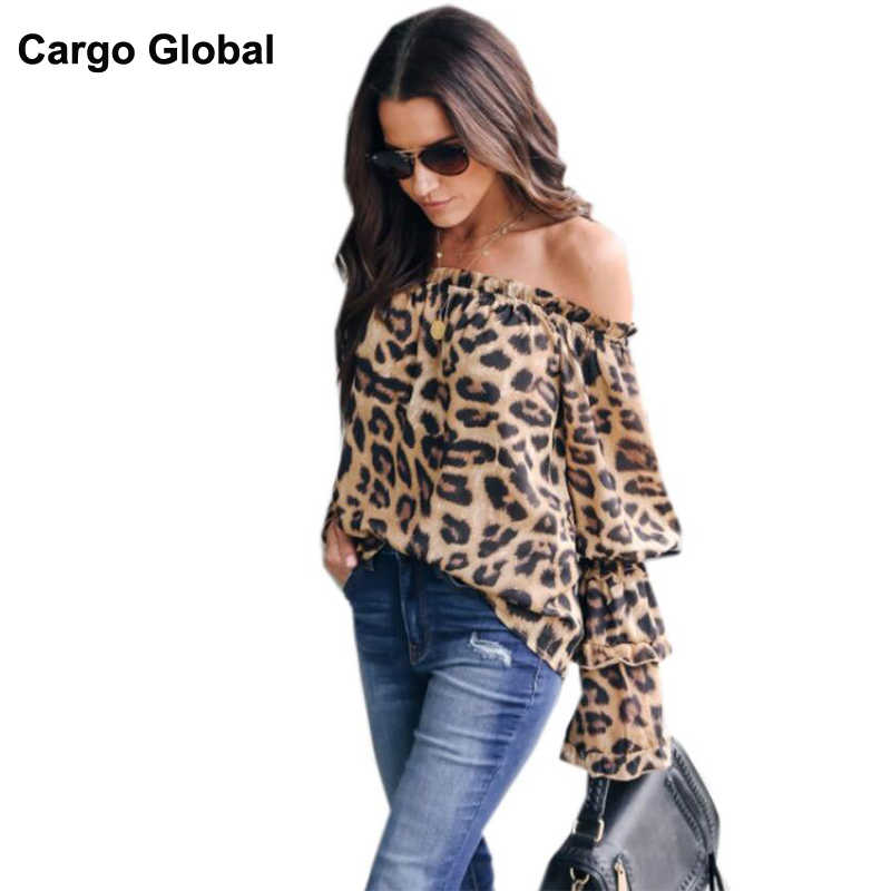 f7fdb59f5ff26 2019 Summer Women Leopard Print Chiffon Trumpet Sleeve Sexy Off Shoulder  Long Sleeve Blouse Ladies Casual