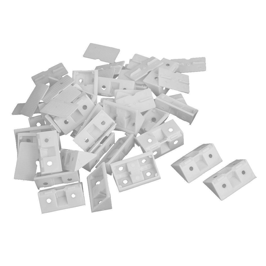 EWS  30pcs Shelf Cabinet 90 Degree Plastic Corner Braces Angle Brackets White ...