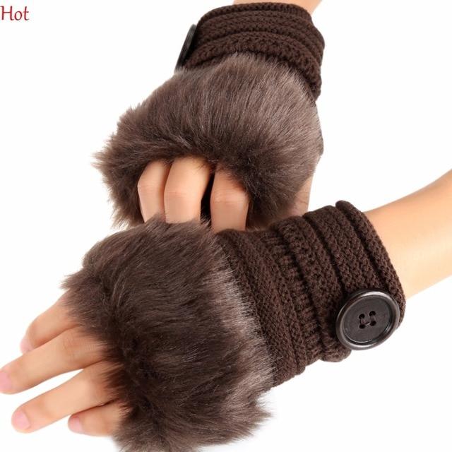 Hot Fashion Frauen Winter Handschuhe Strick Faux Fur Fingerlose ...