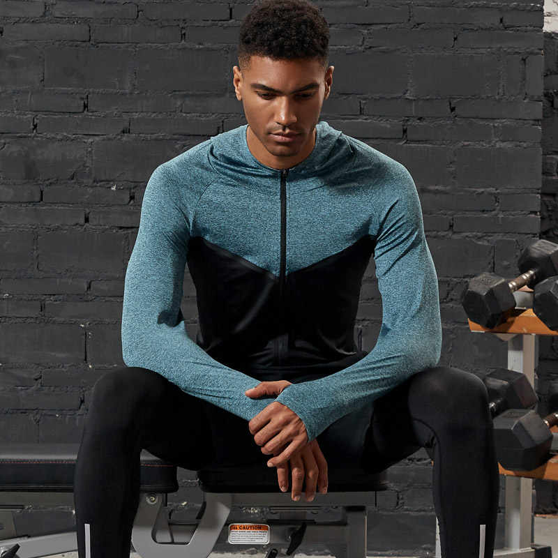 Vansydical 2019 mannen Outdoor Training Running Jassen Fitness GYM Rits Hoodies Lange Mouw Workout Fietsen Sportkleding