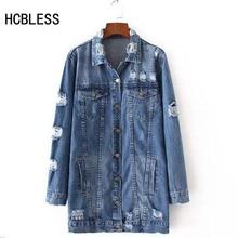 HCBLESS 2018 Denim Jackets Women Hole Boyfriend Style Long Sleeve Vintage Jean jacket Deni