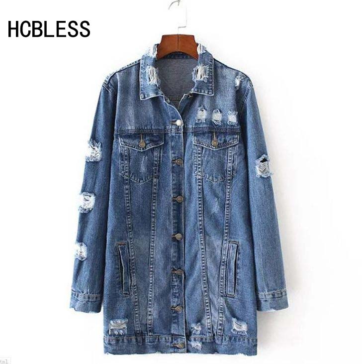 HCBLESS 2018 Denim Jackets Women Hole Boyfriend Style Long Sleeve Vintage Jean jacket Denim Loose Spring Autumn Denim Coat Jean