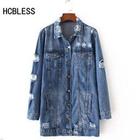 HCBLESS 2018 Denim Jackets Women Hole Boyfriend Style Long Sleeve Vintage Jean jacket Denim Loose Spring Autumn Denim Coat Jean