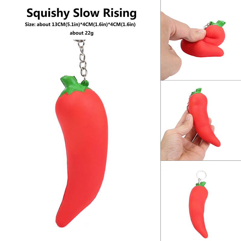 Cute Squishy  Hot Pepper Squishi Cayenne Pepper Slow Rising Chilli Pendant Sweet Phone Strap Kid Fun Squeeze Relieve Stress Toys