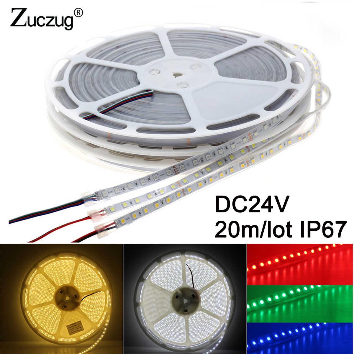 DC 24 V 20 M Lampu LED Strip 5050 24 V Volt Silikon Tabung Tahan Air IP67 1200led Keren Putih Hangat putih RGB Flexible Tape Ledstrip