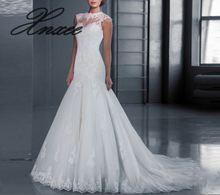 Womens new back pearl lace trailing Vestido de novia S-5XL