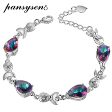 PANSYSEN Charms 8x12MM Water Drop Topaz Gemstone Bracelet For Women Hot 925 Sterling silver Jewelry Bracelets Anniversary Gifts