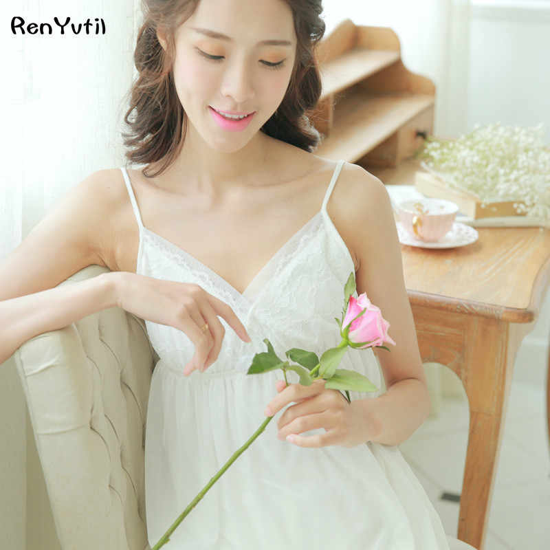 RenYvtil 2 PICS Summer Lace Nightgowns Sexy Sleeveless Elegant Sleepwear Sets Soft Cotton Women Sleeping Princess Home Pajamas