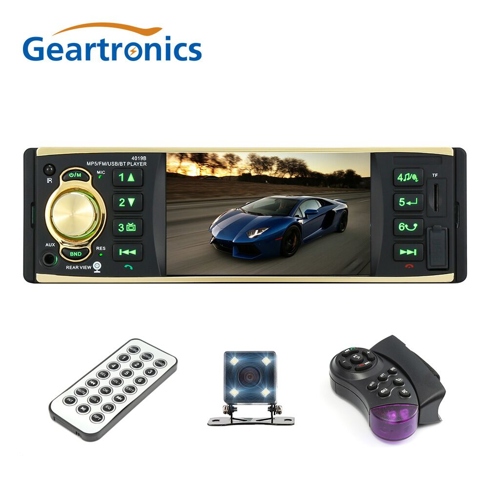 4019B 4.1 inch 1 Din Car Radio Audio Stereo 1Din USB AUX FM Radio Station Bluetooth with Rearview Camera Remote Control