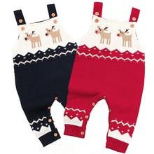 Рождественский костюм, комбинезон для новорожденных мальчиков и девочек, детские комбинезоны, вязанная осенняя одежда для малышей без рукавов с рисунком, комбинезон