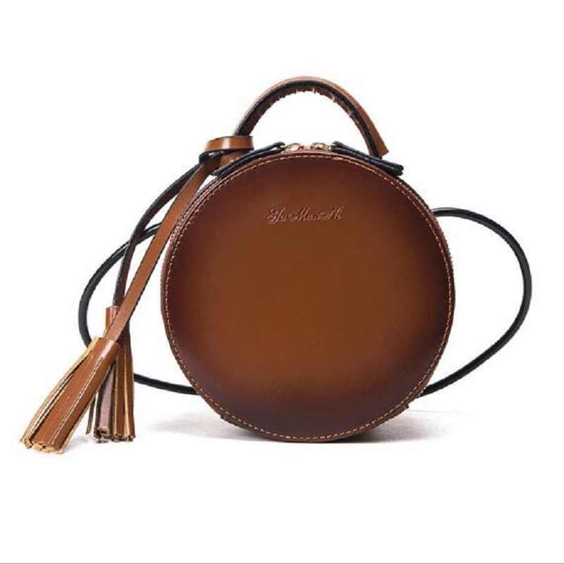 Tas Selempang untuk Wanita PU Kulit Wanita Messenger Tas Kecil Melingkar Tas dengan Rumbai Mini Bulat Gadis Tas Sac utama