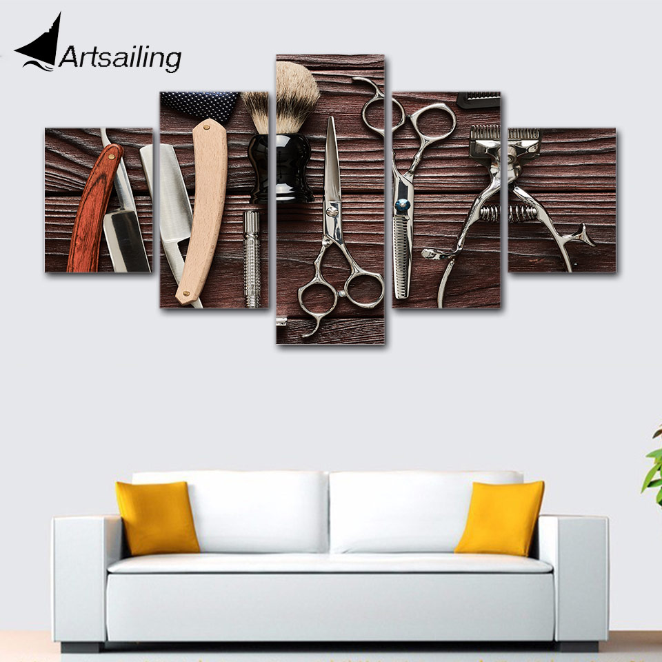 Wall Art Framework 5 Pieces Hair Salon hairdressing posters Canvas Print Modular HD Prints Paintings
