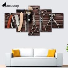 Wall Art Framework 5 Pieces Hair Salon hairdressing posters Canvas Print Modular HD Prints Paintings