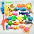 29 pcs Set Crianças Plastic Toy Game Fishing Magnetic 2 pólos 2 redes de 25 Peixes 3D para o Banho Do Bebê Interior divertido