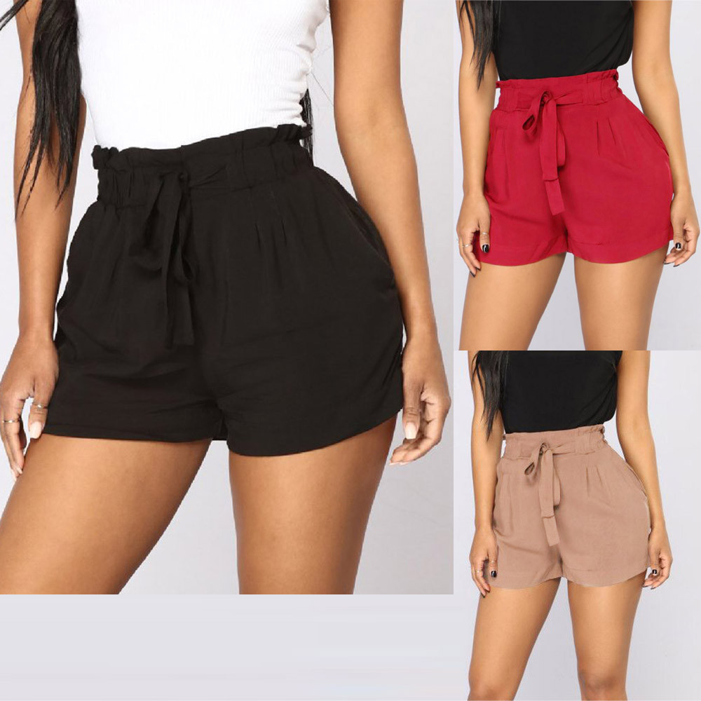 Women Casual Retro Fit Elastic High Waist Pocket Loose Bandage   Shorts   High Waist String Drop Shipping