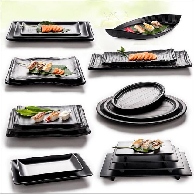 Black A5 melamine Dinnerware Japanese style rectangular barbecue tray imitation porcelain tableware beef plate hot pot & Black A5 melamine Dinnerware Japanese style rectangular barbecue ...