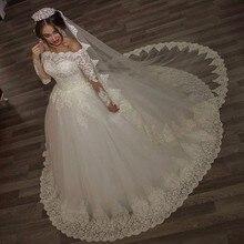 Luxury Vintage Long Sleeves off Shoulder Wedding Dresses Princess Lace Alliques Bridal Bride Gowns with veil robe de mariage