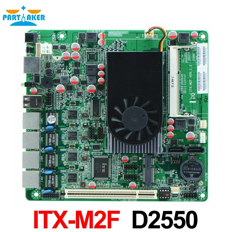 Pare-feu carte mère ITX-M2F Atom D2550 1U sercurity pare-feu avec 4 LAN