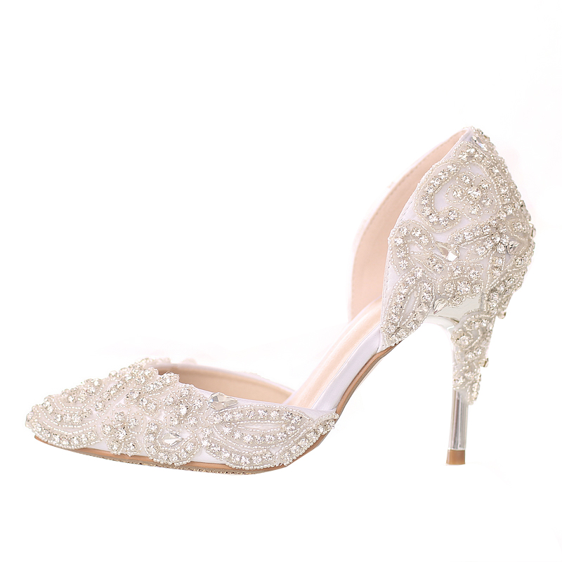 2018 Beautiful Rhinestone Wedding Shoes High Heel Pointed Toe Bride Shoes  White Color Dancing Performance Heels Woman Pumps-in Women s Pumps from  Shoes on ... bc7d6f29dbb6