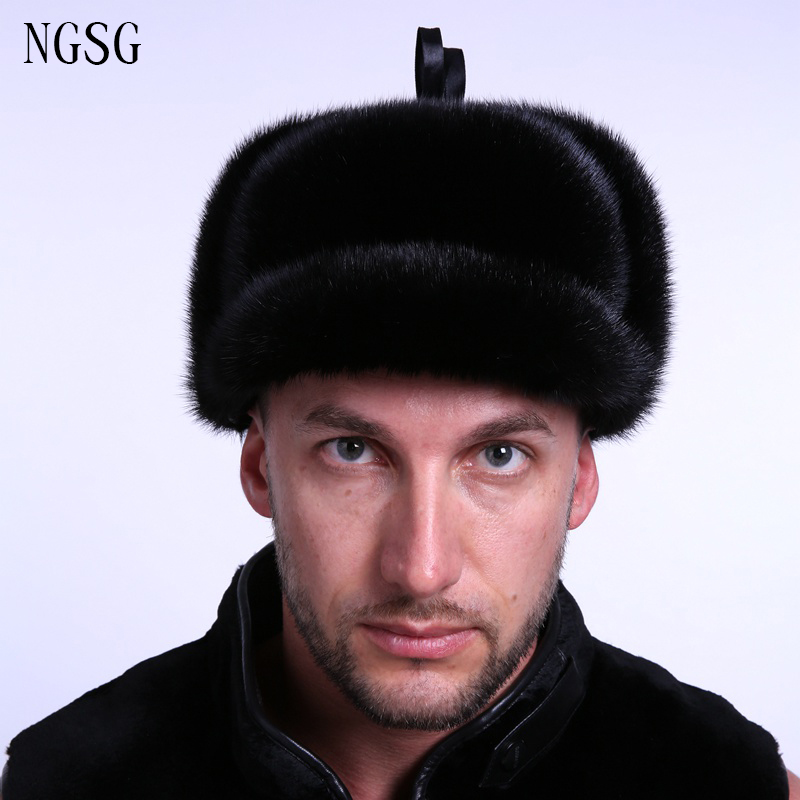 Hiver hommes Bomber chapeau fourrure chapeau réel vison garantie réel matériel doux confortable offre spéciale le meilleur cadeau pour garçon ami EA4050-6