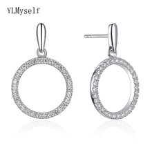 Real 92.5% silver round drop earrings circle design jewelry rhodium plated jewellery great sterling 925