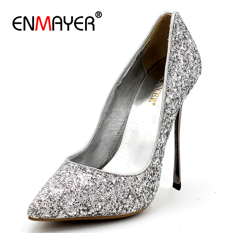 ENMAYER Sexy High Heels Pumps Shoes Woman Pointed Toe Thin Heels Party Wedding Shoes Plus Size 34-43 Red Black Golden Shoes enmayer high heels pointed toe spring