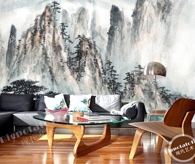 meeting background chinese retro painting living landscape bedroom papel mural zoom parede wallpapers mouse