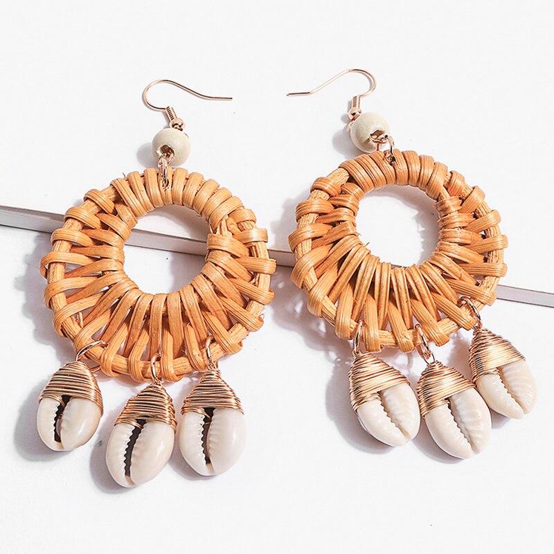 AENSOA Korea Handmade Bamboo Shell Tassel 2019 New Round Long Earrings for Women Straw Weave Rattan Vine Braid Earrings Jewelry